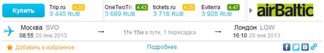 Минимальная стоимость билета через AviaSales.ru