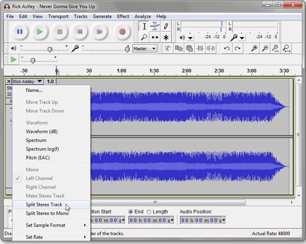 Audacity-split-stereo-track