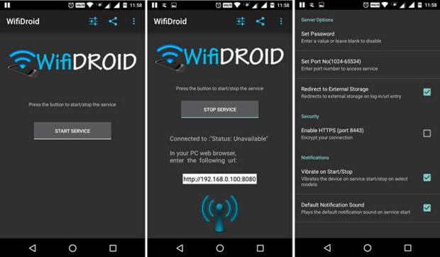 Обмен файлами между компьютером и Android по WiFi